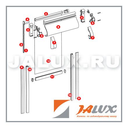 Механизм управления рольшторы.  Алюминиевый...  Алюминиевая полая трубка для намотки ткани.